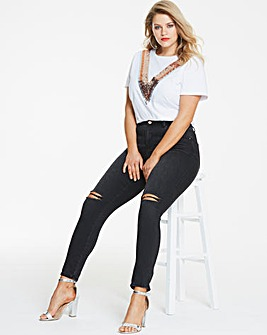 Chloe High Waist Rip Knee Jeans Reg