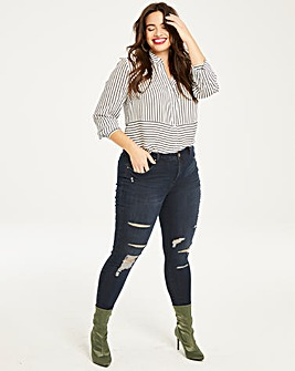 Petite Indigo Chloe Ripped Skinny Jeans