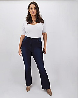 Petite Dark Indigo Kim High Waisted Super Soft Bootcut Jeans