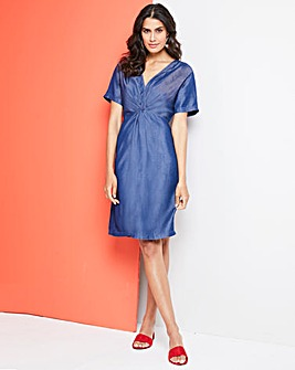 Soft Tencel Denim Twist Knot Front Dress