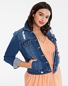 Distressed Western Denim Jacket