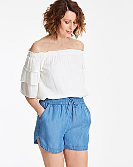 Soft Tencel Denim Pull-On Shorts