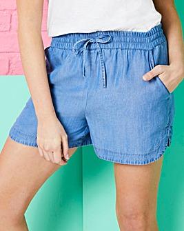 Mid Blue Soft Lyocell Denim Shirred Waist Pull-On Shorts