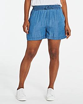 Blue Soft Tencel Denim Pull-On Shorts