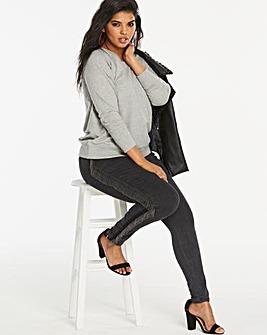Charcoal Chloe Tassel Side Skinny Jeans
