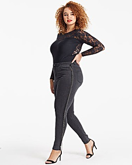 Charcoal Embellished Side Chloe High Waist Skinny Jeans Regular Length