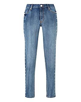 Petite Studded Sadie Slim Leg Jeans
