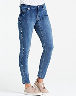 Blue Studded Sadie Slim Leg Jeans