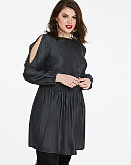 Volume Sleeve Shirred Soft Tencel Dress