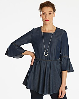 Soft Tencel Denim Fluted Sleeve Tunic
