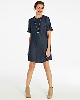 Soft Tencel Denim Fluted Sleeve Swing Dress