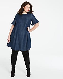 Soft Tencel Denim Fluted Sleeve Swing Dress