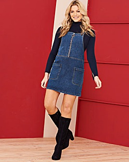 Stonewash Zip Front Denim Pinafore Dress