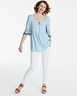 Tencel Embroidered Floaty Smock Tunic