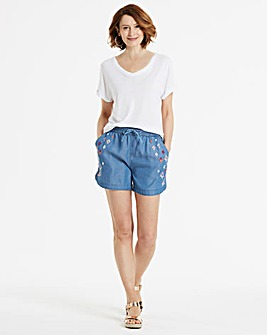 Soft Tencel Denim Embroidered Shorts