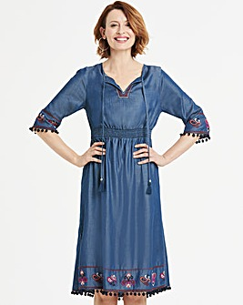 4fb5170e6c53d4 Tencel Embroidered Pom-Pom Midi Dress