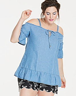 Cold Shoulder Denim Ruffle Top