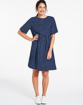 Lightweight Stripe Denim Smock Dress