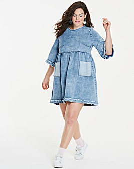 Flared Sleeve Deconstructed Denim Dress