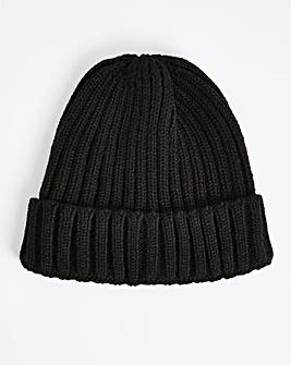 Black Fisherman Beanie Hat