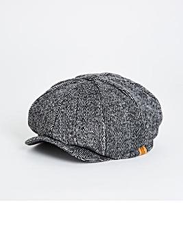Black/White Herringbone Baker Boy Hat