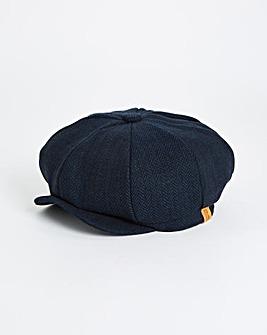 Navy Herringbone Baker Boy Hat