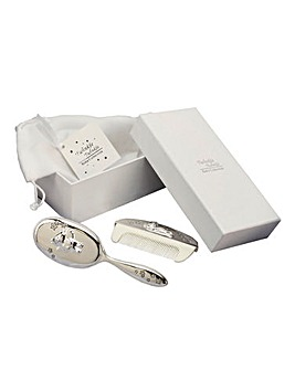 Gift Boxed Silver Plated Brush Comb Set