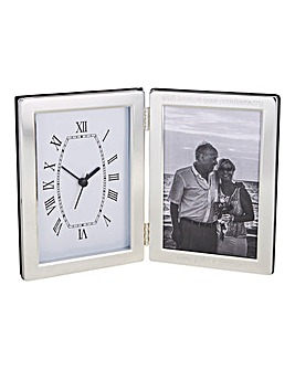 Personalised Silver Plated Clock & Frame