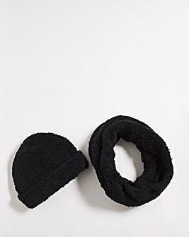 Black Sherpa Hat Snood Set