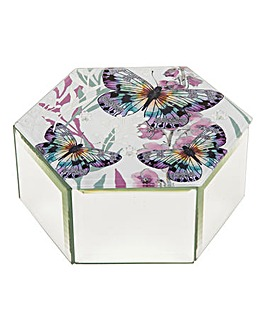Butterfly Glass Hexagon Trinket Box
