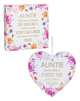Floral Square Plaque & Hanging Heart