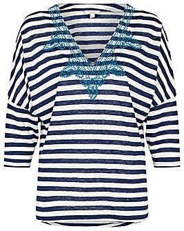 Monsoon EMBROIDERED STRIPE LINEN TOP
