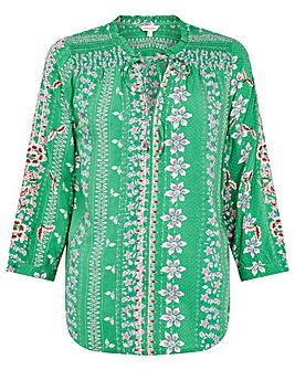 Monsoon Green Printed Embroidered Blouse