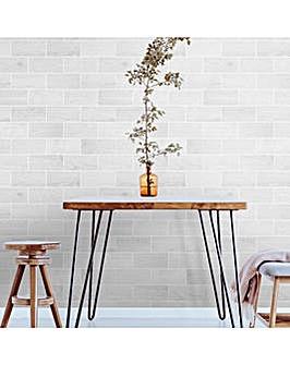 Contour Wooden Tile Grey Heavy Weight Vinyl Wallpaper