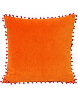 Velvet Pom Pom Poly Cushion