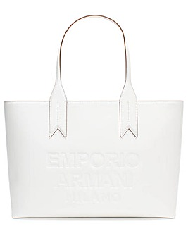 Emporio Armani Logo White Shopper Bag