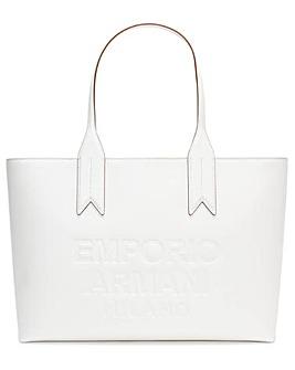 Emporio Armani Logo White Shopper Bag