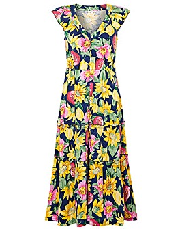 Monsoon FLORAL PRINT JERSEYY MIDI DRESS