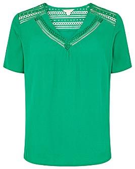 Monsoon Lace Woven Mix T Shirt