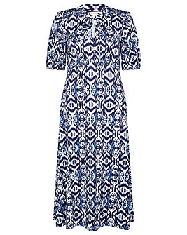 Monsoon Ikat Printed Keyhole Midi Dress