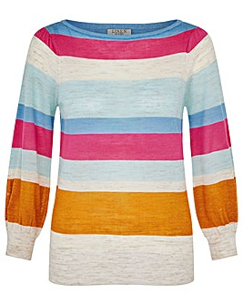 Monsoon Stripe Linen Jumper
