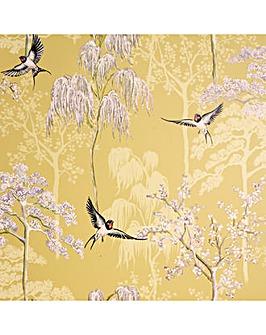 Japanese Garden Ochre Wallpaper