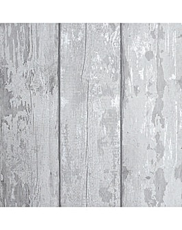 Metallic Washed Wood Grey/Silver Wallpaper