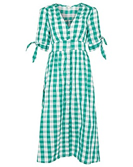 Monsoon GREEN GINGHAM CHECK DRESS