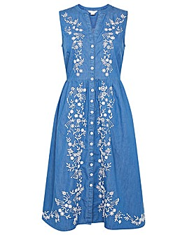 Monsoon EMBROIDERED DENIM DRESS