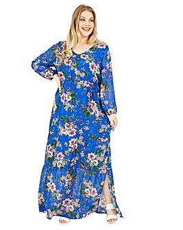 Yumi Curves Floral Print Maxi In Blue