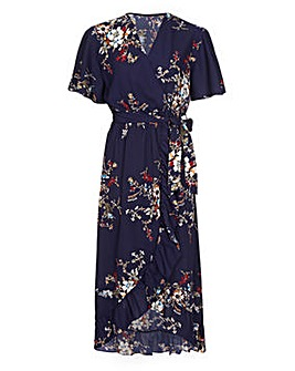 Mela London Curve Navy Floral Ruffle Midi Dress