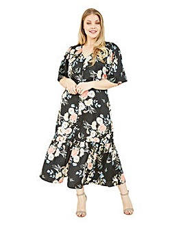 Yumi Curves Black Floral Midi Dress