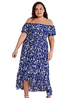 Mela London Curve Blue Floral Bardot Maxi Dress