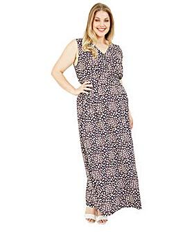Mela London Curve Leopard Print Maxi Dress In Navy